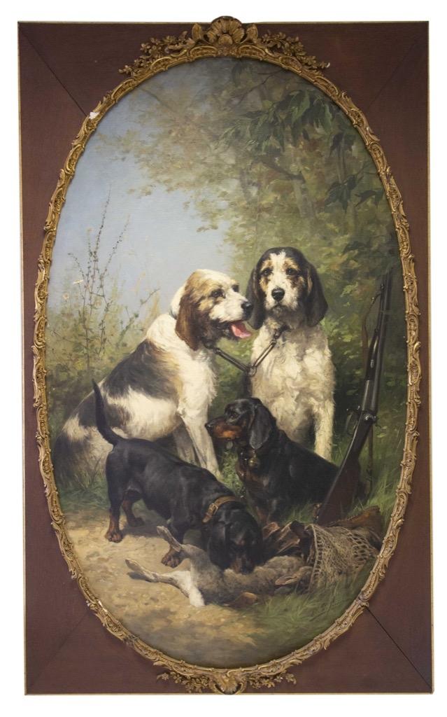 134- Olivier Charles DE PENNE. Scène de chasse. Huile sur toile signée en bas à droite. 160x100cm. Adjugé 13000€