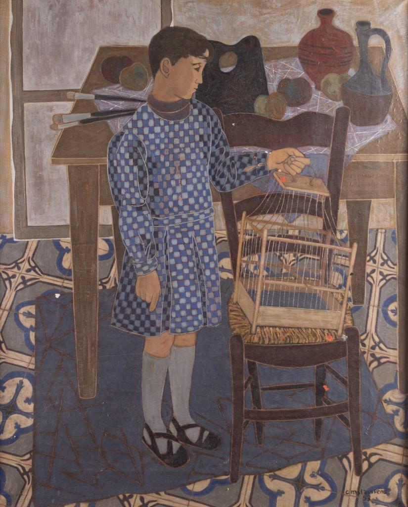 171- Charles MALAUSSENA. Jeune homme dans un intérieur en habit d'arlequin. Huile sur toile signée et datée 53 en bas à droite. 100x80cm. Adjugé 250€