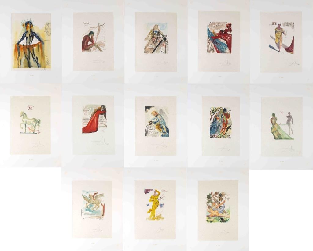 56- Salvador DALI. Antica. Suite de 13 lithographies sur japon, signées et numérotées. Adjugé 2800€