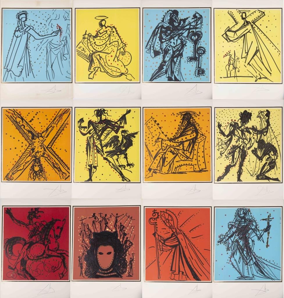 57- Salvador DALI. Les douze apôtres. Suite de 12 lithographies signées et numérotées. Adjugé 3000€